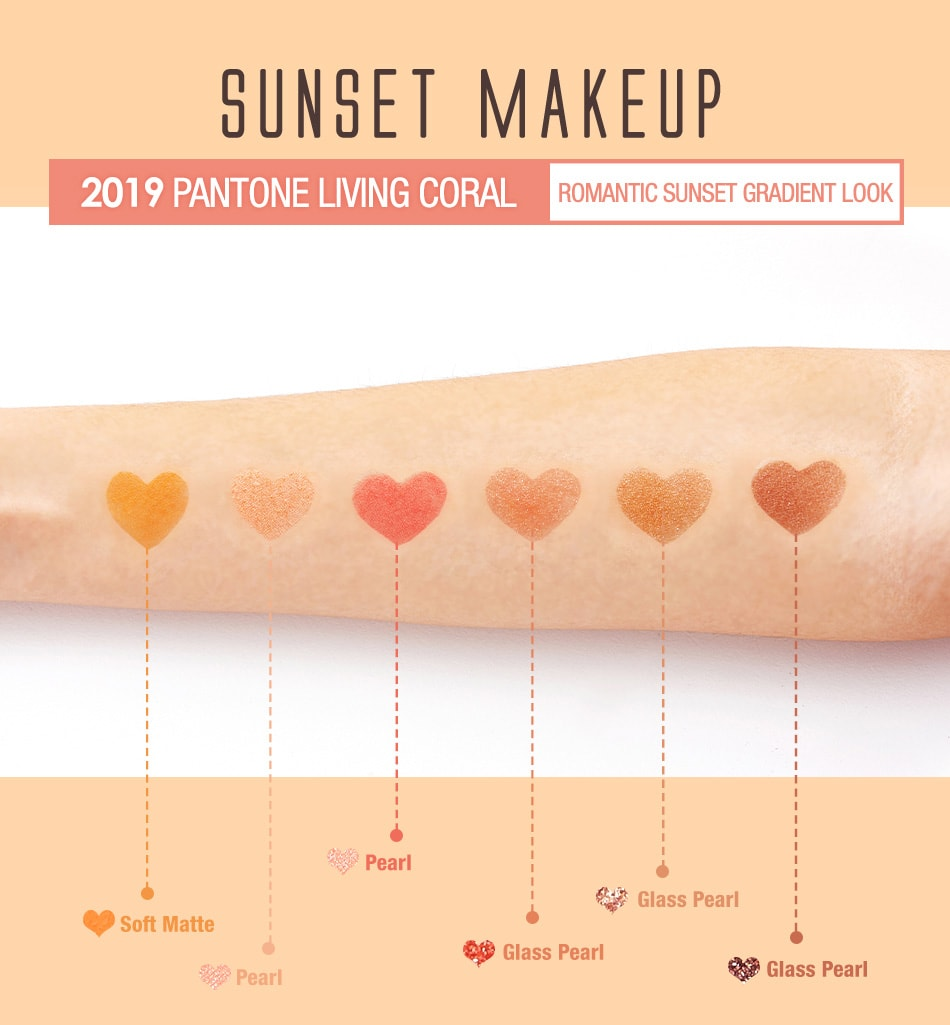 BeautyMaker Sunset Multi–Texture Eyeshadow Palette - colors