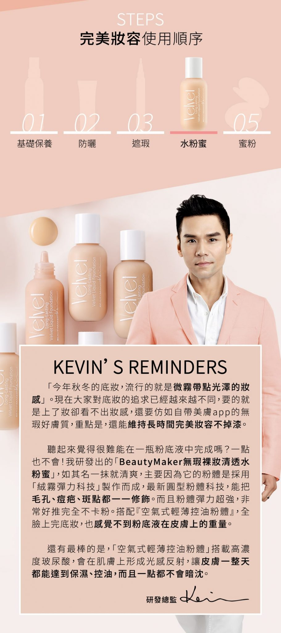 Long-Lasting Velvet Liquid Foundation - Steps & Kevin's Reminders